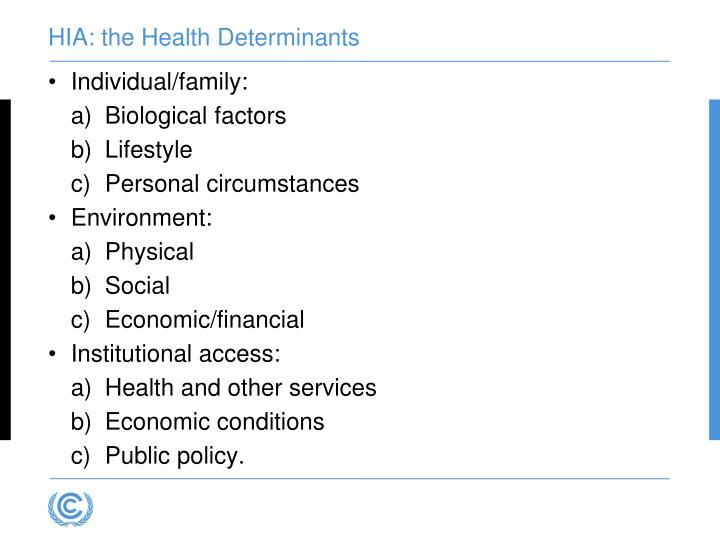 HIA: the Health Determinants