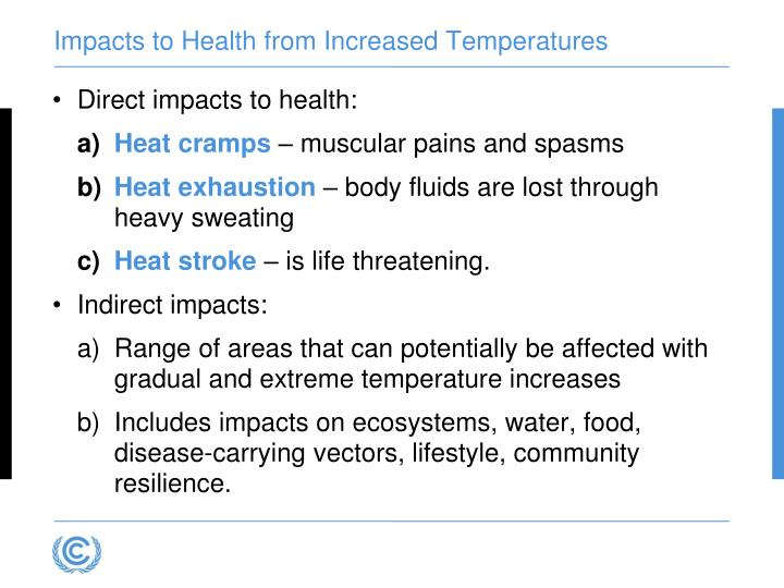 Impacts to Health from Increased Temperatures