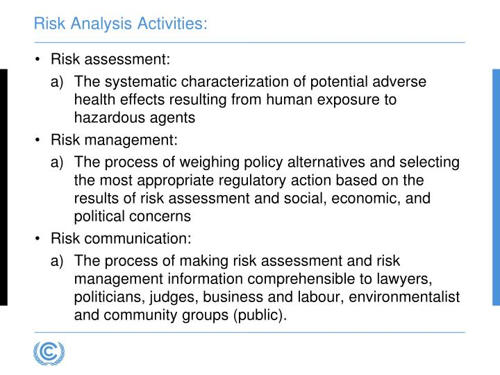 Risk Analysis Activities: