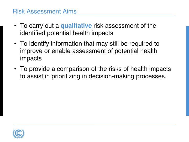 Risk Assessment Aims