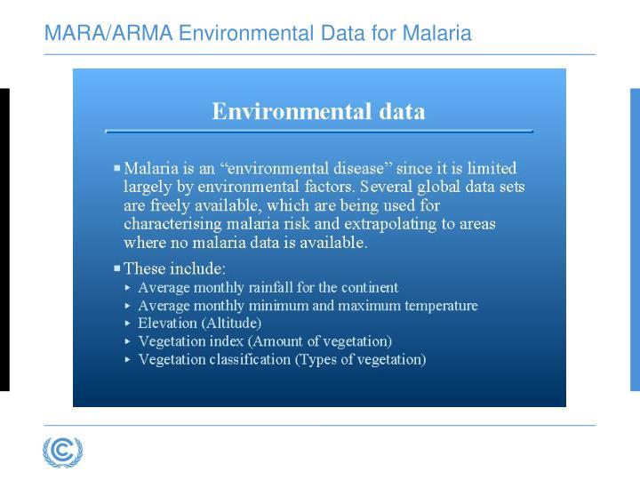 MARA/ARMA Environmental Data for Malaria