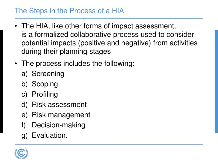 The Steps in the Process of a HIA