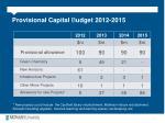 provisional capital b udget 2012 2015
