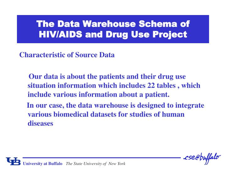 the data warehouse schema of hiv aids and drug use project