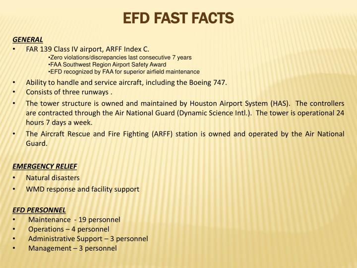 EFD FAST FACTS