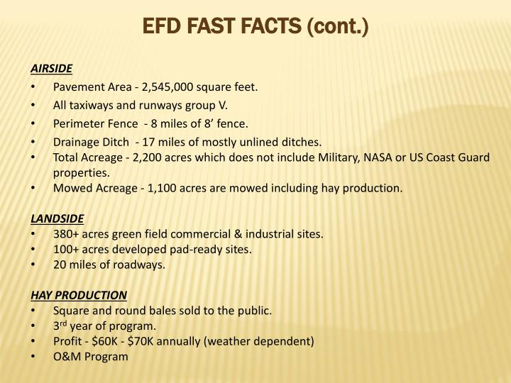 EFD FAST FACTS (cont.)