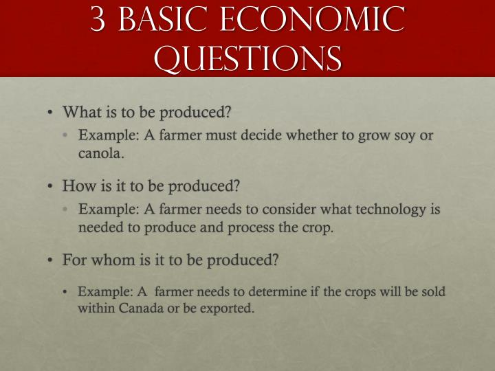 basic economic questions essay Economics is the study of how populations, businesses and individuals use money and other resources to produce wealth understanding basic concepts of economics is important to local, state and federal governments, as well as organizations affected by them professionals in economics and business.