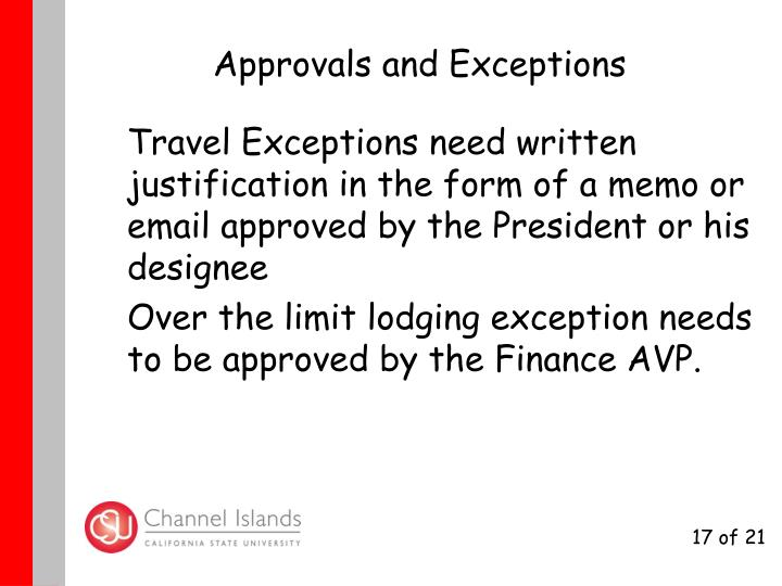 Approvals and Exceptions