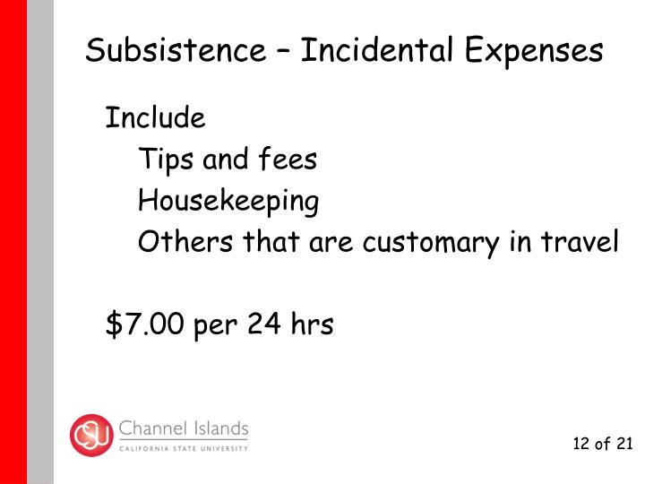 Subsistence – Incidental Expenses