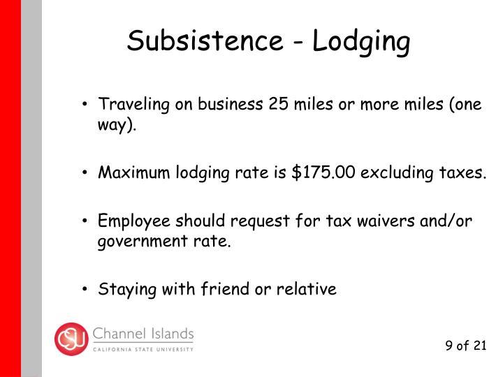 Subsistence - Lodging