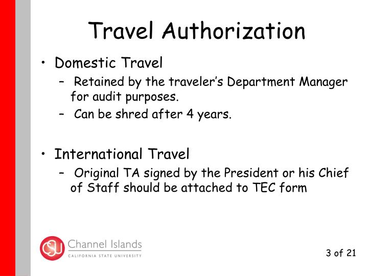 Travel authorization