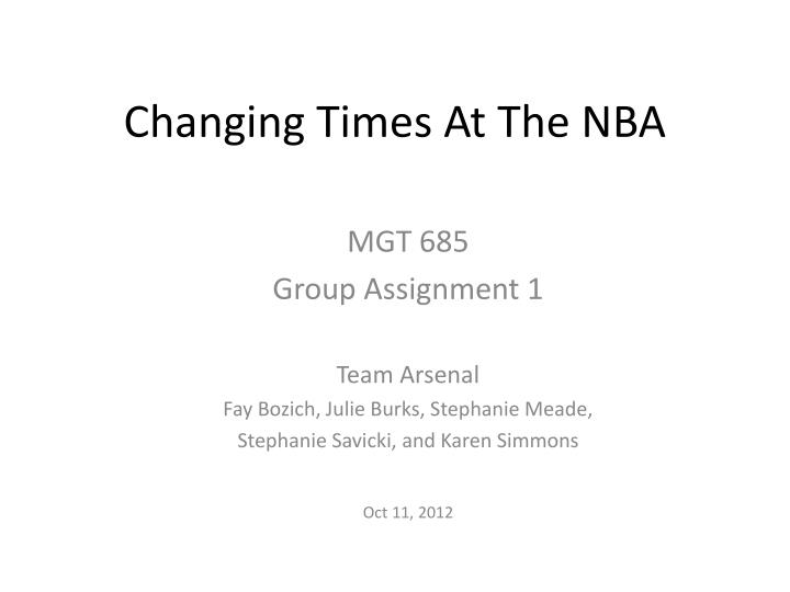 Changing times at the nba