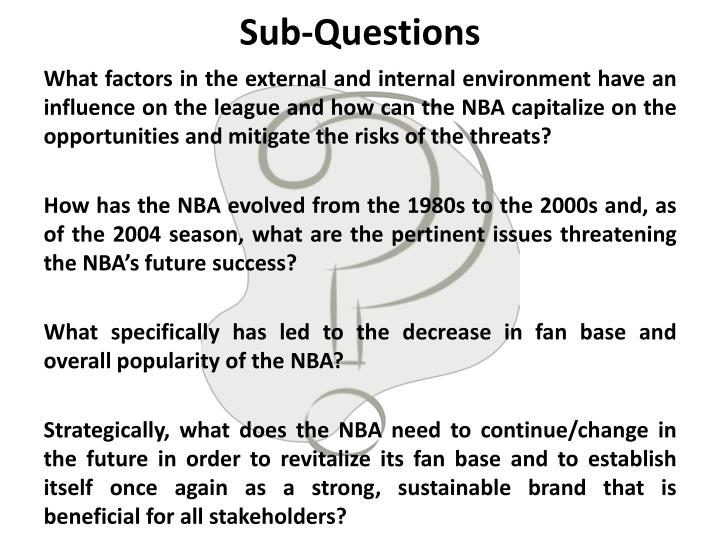 Sub questions