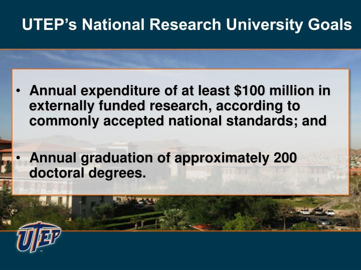 UTEP's National Research University Goals