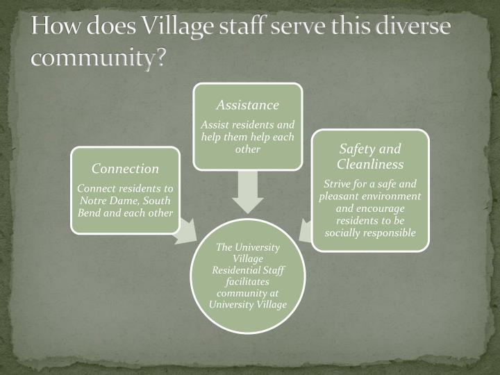 How does Village staff serve this diverse community?
