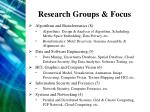 research groups focus