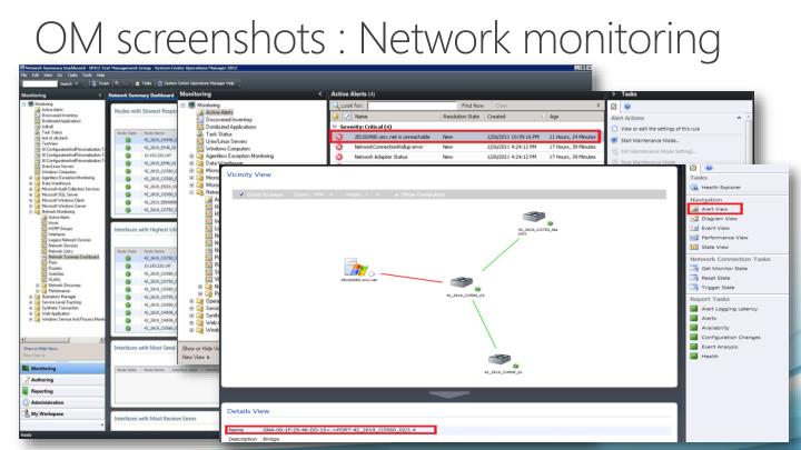 OM screenshots : Network monitoring