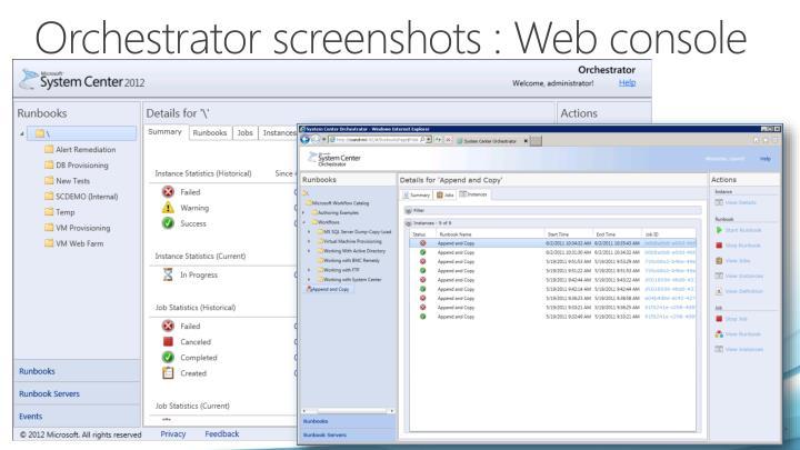 Orchestrator screenshots : Web console