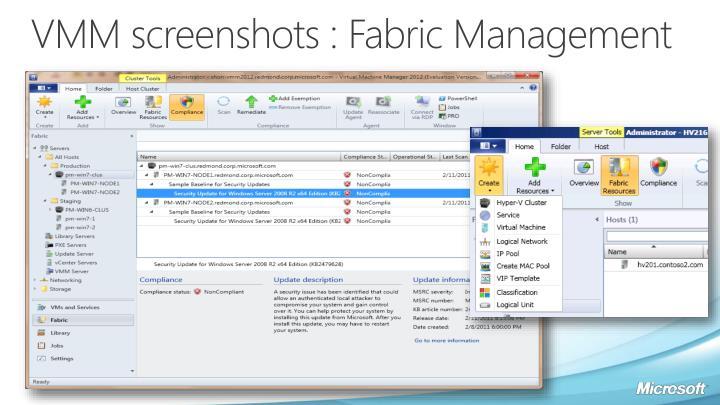 VMM screenshots : Fabric Management