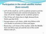 participation in the small satellite market euro consult