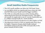 small satellites radio frequencies