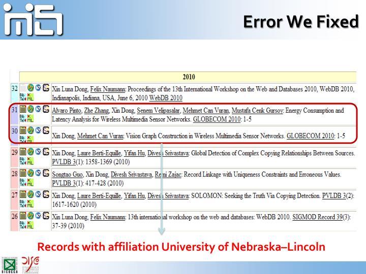 Error We Fixed