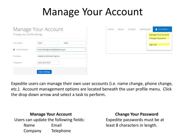 Manage Your Account