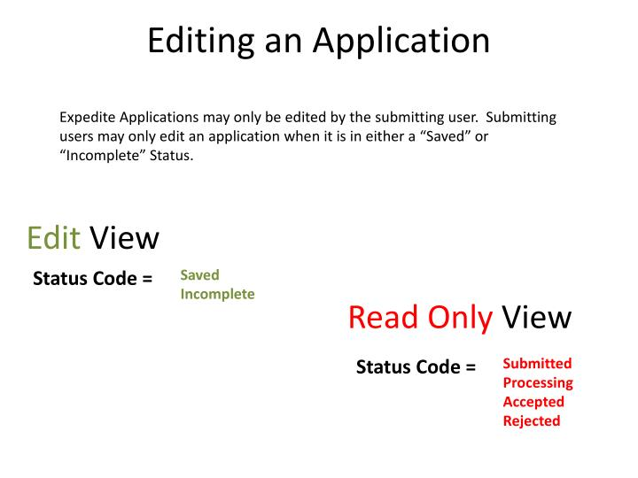 Editing an Application