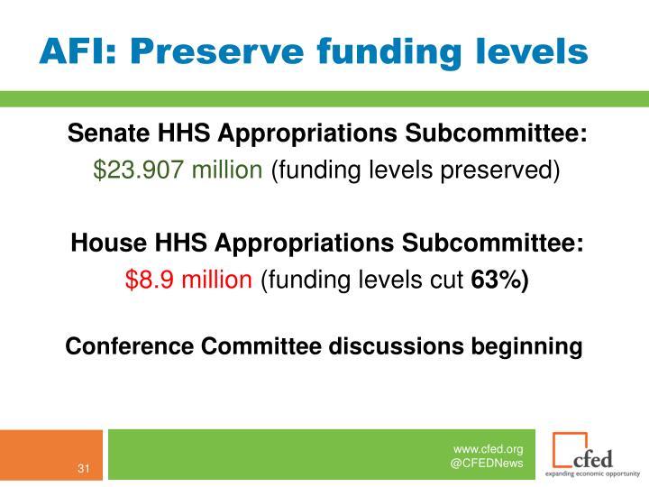 AFI: Preserve funding levels