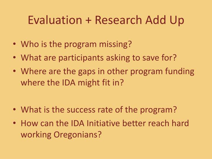 Evaluation + Research Add Up