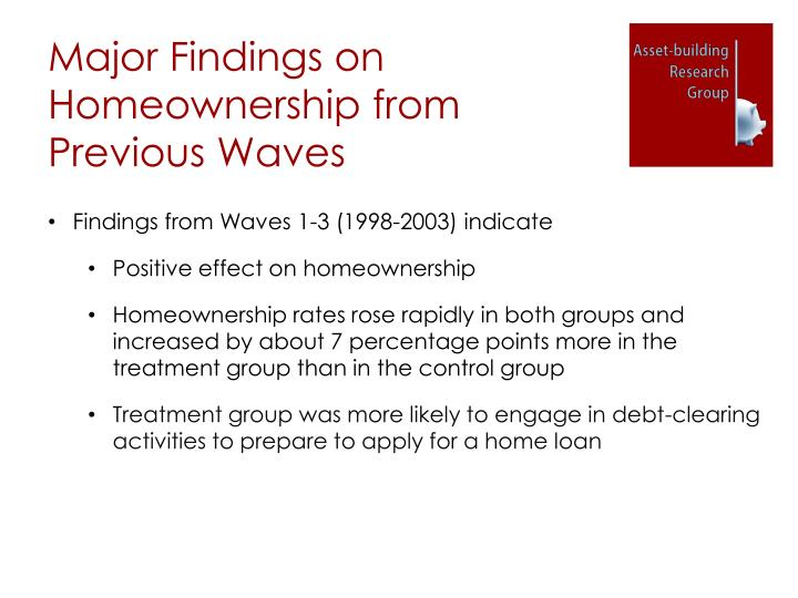Major Findings on Homeownership from Previous Waves