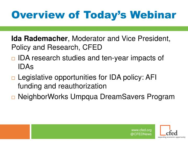 Overview of today s webinar