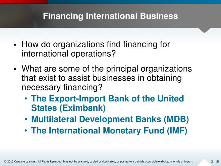 Financing International Business