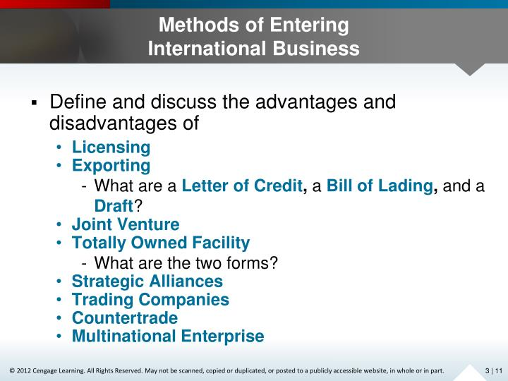 Methods of Entering