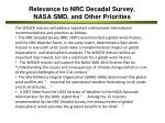 relevance to nrc decadal survey nasa smd and other priorities