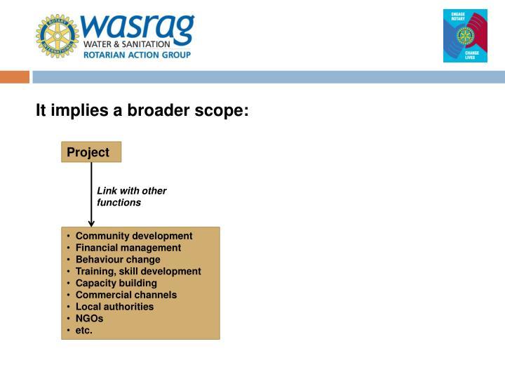 It implies a broader scope: