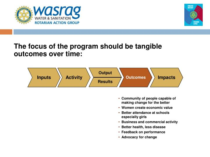 The focus of the program should be tangible outcomes over time: