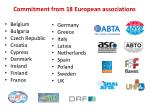 commitment from 18 european associations