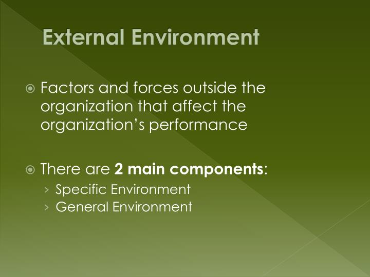 describe the organizations general environment 32 evaluating the general environment  organizations that depend on technologies that are being displaced must be aware that consumers could abandon them at a.
