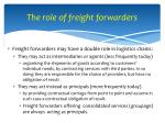 the role of freight forwarders