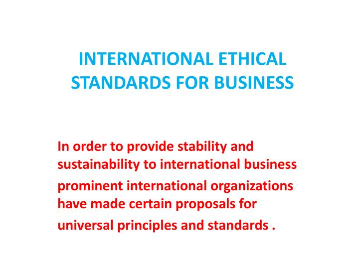 international ethical standards for business n.
