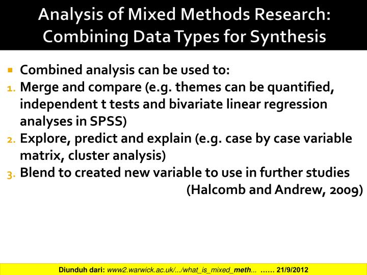 Analysis of Mixed Methods Research: Combining Data Types for Synthesis
