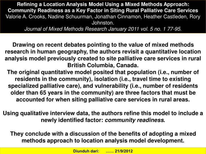 Refining a Location Analysis Model Using a Mixed Methods Approach: Community Readiness as a Key Factor in Siting Rural Palliative Care Services