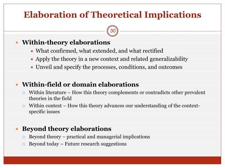 Elaboration of Theoretical Implications
