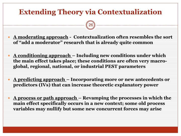 Extending Theory via Contextualization