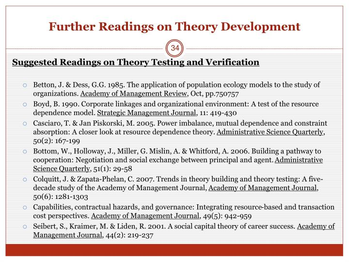 Further Readings on Theory Development