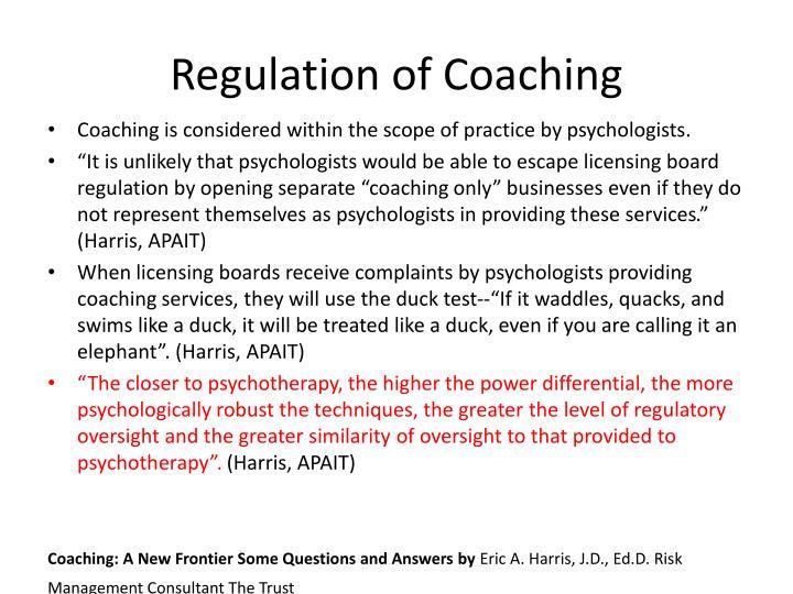 Regulation of Coaching