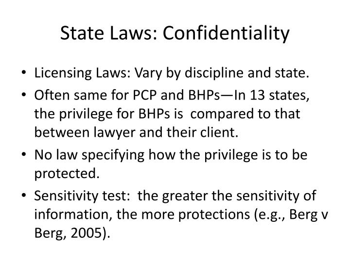 State Laws: Confidentiality