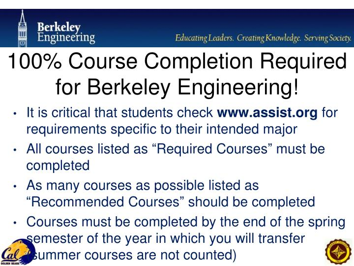 100% Course Completion Required for Berkeley Engineering!