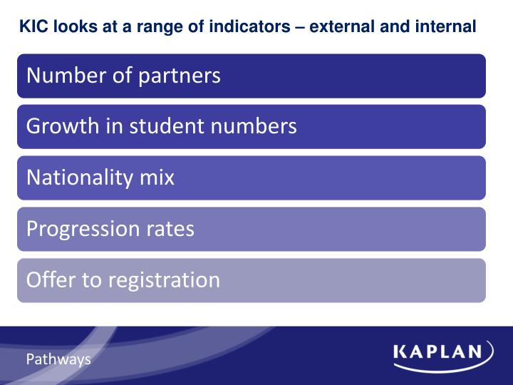KIC looks at a range of indicators – external and internal